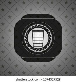 wastepaper basket icon inside dark emblem