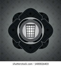wastepaper basket icon inside dark badge