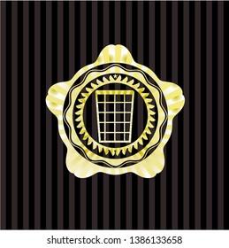 wastepaper basket icon inside gold badge
