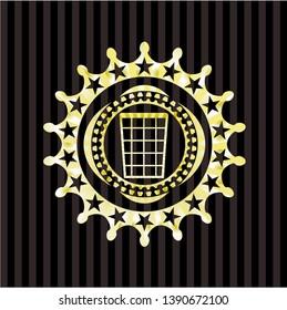 wastepaper basket icon inside gold emblem