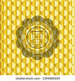 wastepaper basket icon inside gold shiny emblem. Scales pattern. Vector Illustration. Detailed.