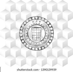 wastepaper basket icon inside grey emblem with cube white background