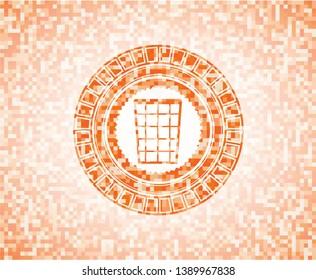 wastepaper basket icon inside orange mosaic emblem with background