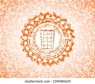 wastepaper basket icon inside orange tile background illustration. Square geometric mosaic seamless pattern with emblem inside.