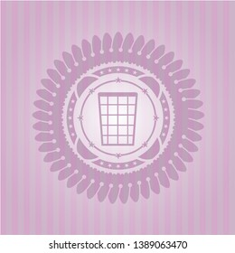 wastepaper basket icon inside pink icon or emblem