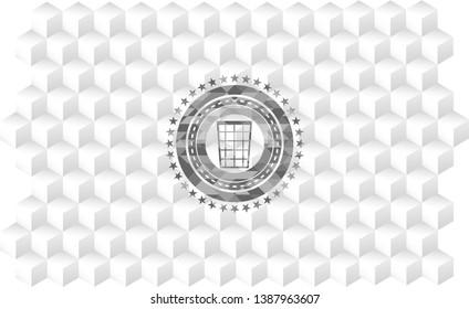 wastepaper basket icon inside realistic grey emblem with geometric cube white background