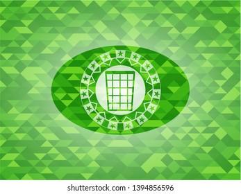 wastepaper basket icon inside realistic green mosaic emblem
