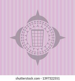 wastepaper basket icon inside realistic pink emblem