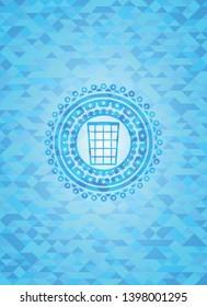 wastepaper basket icon inside realistic sky blue mosaic emblem