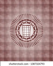 wastepaper basket icon inside red seamless geometric badge.