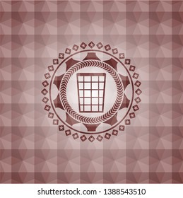 wastepaper basket icon inside red seamless emblem with geometric pattern.