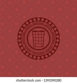 wastepaper basket icon inside red emblem. Vintage.