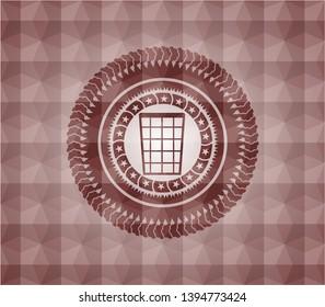 wastepaper basket icon inside red seamless geometric emblem.