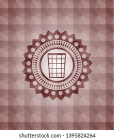 wastepaper basket icon inside red emblem with geometric pattern. Seamless.