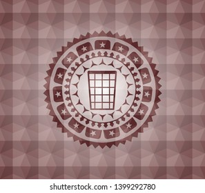 wastepaper basket icon inside red badge with geometric pattern background. Seamless.