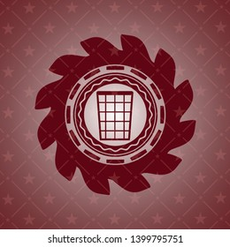 wastepaper basket icon inside red icon or emblem