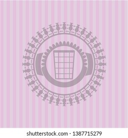 wastepaper basket icon inside retro pink emblem
