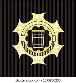 wastepaper basket icon inside shiny badge