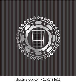 wastepaper basket icon inside silvery shiny emblem