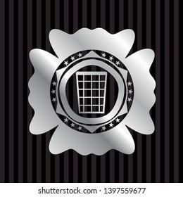 wastepaper basket icon inside silvery shiny badge