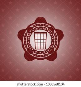 wastepaper basket icon inside vintage red emblem