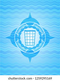 wastepaper basket icon inside water concept badge.