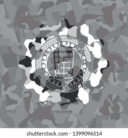 wastepaper basket icon on grey camouflage texture