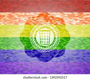 wastepaper basket icon on mosaic background with the colors of the LGBT flag