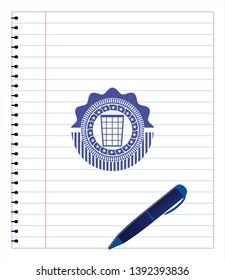 wastepaper basket icon pen effect. Blue ink. Vector Illustration. Detailed.