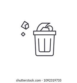Wastepaper basket linear icon concept. Wastepaper basket line vector sign, symbol, illustration.
