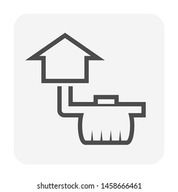 Wastewater drainage and home icon design.