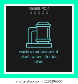 wastewater treatment plant, water filtration plant  vector icon