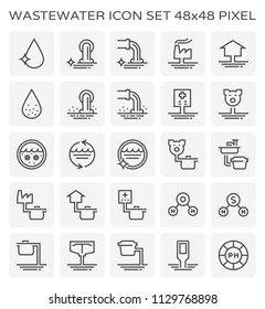 Wastewater and water treatment icon set, 48x48 perfect pixel and editable stroke.