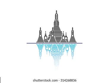 Wat Arun; famous iconic landmark temple in Bangkok, Thailand. flat line icon style vector
