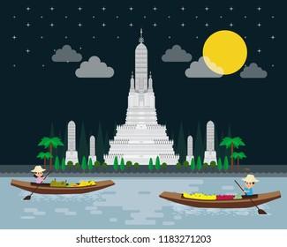Wat Arun Ratchawararam Ratchawaramahawihan or Wat Arun is a Buddhist temple in bangkok city landmark, Boat in a floating market in Thailand