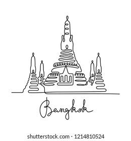 Wat Arun, Temple of Dawn. Bangkok continuous line illustration