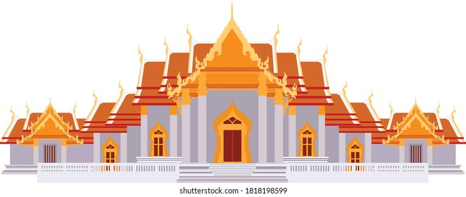 Wat Benchamabophit - The Famous marble temple and the symbols of Bangkok city Thailand with landscape drawing in vector