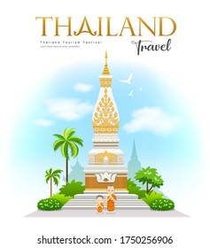 Wat Phra That Phanom, Nakhon Phanom Province, beautiful of Thailand Holy place, With welcoming monks and novices design, background, vector illustration