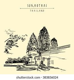 Wat Si Sawai in Sukhothai Historical Park, Thailand. Hand drawn vintage touristic postcard in vector