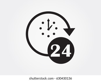 Watch 24 hours of icon, vector illustration eps10
