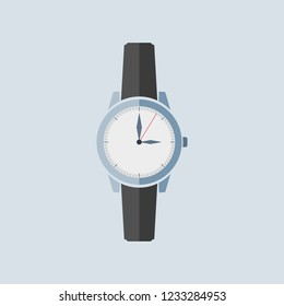 Watch with black leather strap. Icon in flat design. Vector illustration isolated on light background. Symbol of time.