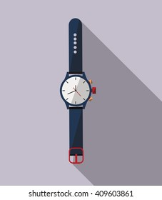 Watch icon. Flat design style modern vector illustration. Isolated on stylish color background. Flat long shadow icon. Elements in flat design.