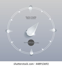 watch icon glass isolated circle simple modern abstract 24 vector drop design time image future