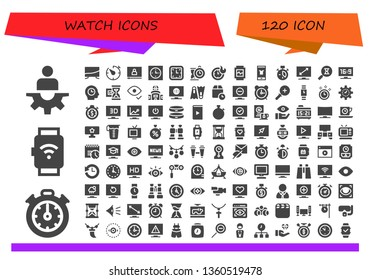 watch icon set. 120 filled watch icons.  Collection Of - Manager, Stopclock, Smartwatch, Television, Timer, Video, Clock, Wall clock, Clocks, Watch, Fashion, Sandclock, Time, Hourglass