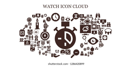 watch icon set. 93 filled watch icons. Simple modern icons about  - Clock, Smartwatch, Television, Watch, Eye, Sandclock, Zoom, Zoom out, Jewelry, Tea time, History, Wait time