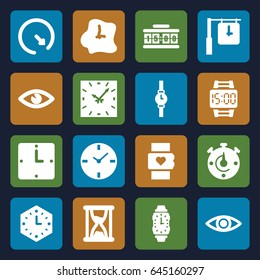 Watch icons set. set of 16 watch filled icons such as eye, wall clock, wrist watch, hourglass, clock