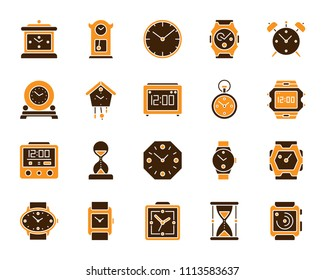 Watch icons set. Isolated on white sign kit of alarm clock. Clock pictogram collection includes stopwatch, cuckoo clock, reminder. Simple watch contour symbol. Vector Icon shape for stamp