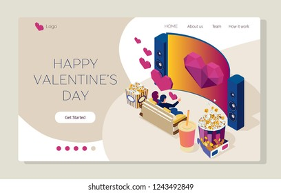 Watch the movie in cinema. Young people are watching film and sitting on the couch. Valentine's day. Bright youth illustration of a home cinema. Isometric 3d flat illustration