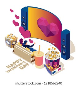 Watch the movie online with a laptop. Young people are watching film and sitting on the couch. Valentine's day. Bright youth illustration of a home cinema. Isometric 3d flat illustration