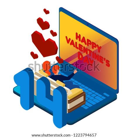 Watch Movie Online Laptop Young People Stock Vector Royalty Free